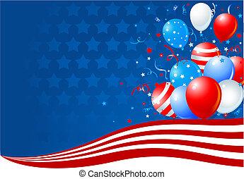 drapeau, ballons, américain, vague