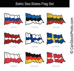 drapeau, baltique, onduler, etats, ensemble, mer