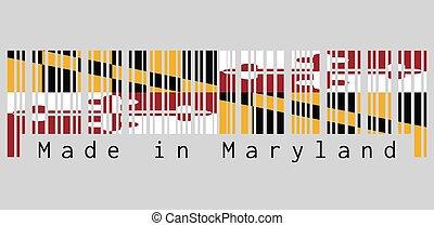 drapeau, bannière, text:, héraldique, fait, calvert, maryland., couleur, baltimore., ensemble, george, barcode, baron, maryland, 1er