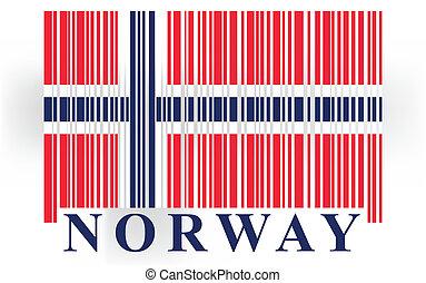drapeau, barcode, norvège