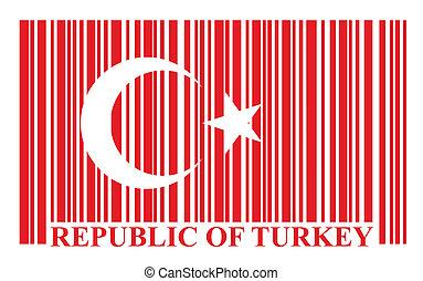 drapeau, barcode, turc