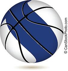 drapeau, basket-ball, white., balle, finlande