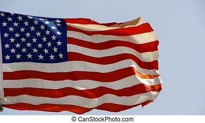 drapeau, battement des gouvernes, américain, vent