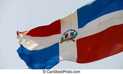drapeau, battement des gouvernes, vent, dominique