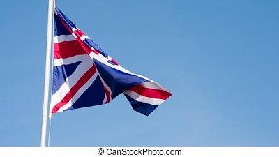 drapeau, battement des gouvernes, vent, royaume-uni