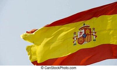 drapeau, battement des gouvernes, wind., espagne