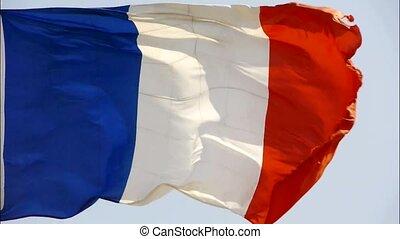 drapeau, battement des gouvernes, wind., france
