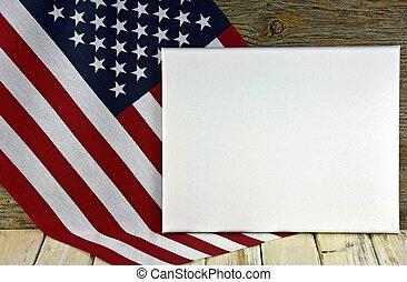 drapeau blanc, américain, toile