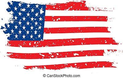 drapeau blanc, usa, grunge, fond