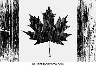 drapeau, bois, canadien