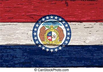 drapeau, bois construction, vieux, état, missouri