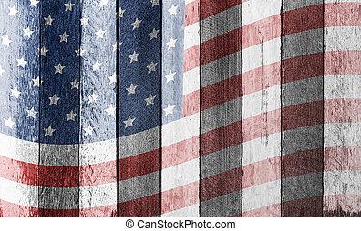 drapeau, bois, vieux, américain, fond