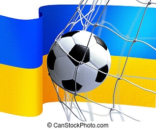 drapeau, boule football, ukrainien