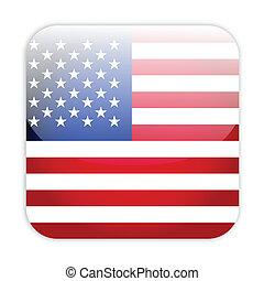 drapeau, bouton, usa
