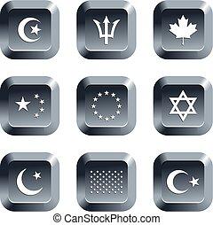 drapeau, boutons