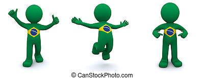 drapeau brésil, 3d, caractère, textured