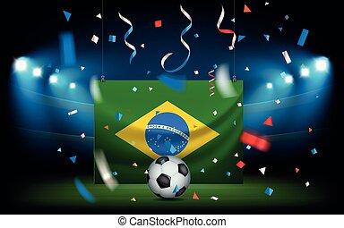 drapeau brésil, balle, stade, football