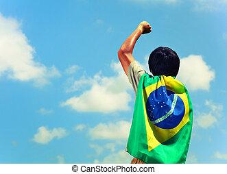 drapeau brésil, excité, tenue, homme