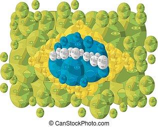 drapeau brésil, fait, faces
