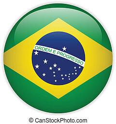 drapeau brésil, lustré, bouton