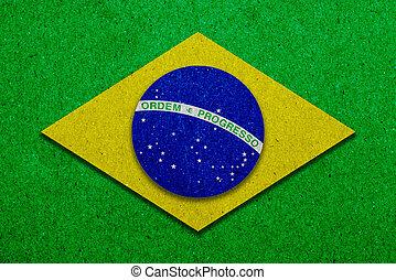 drapeau brésil, papier, grunge, fond