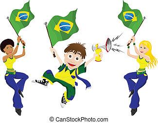 drapeau brésil, sport, ventilateur, corne