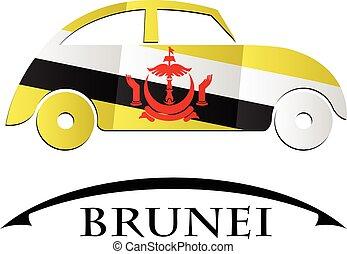 drapeau brunei, fait, icône, voiture