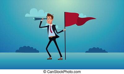 drapeau, businnessman, élégant, reussite, télescope