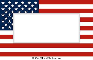 drapeau, cadre, usa