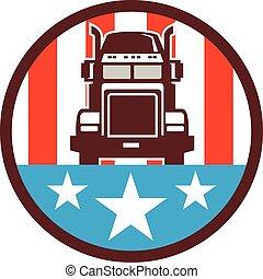 drapeau, camion, cercle, usa, retro