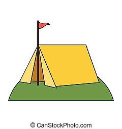 drapeau, camper tente