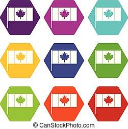 drapeau canada, à, mât, icône, ensemble, couleur, hexahedron