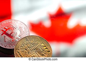 drapeau canada, image., virtuel, pièces, argent, concept, contre, fond, conceptuel, close-up., bitcoin
