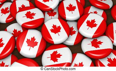 drapeau canada, insignes, fond