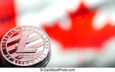 drapeau canada, litecoin, image., virtuel, pièces, contre, concept, argent, fond, conceptuel, close-up.