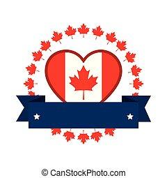 drapeau, canadien, emblème, icône