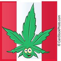 drapeau, canadien, marijuana, dessin animé