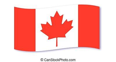 drapeau, canadien, vague