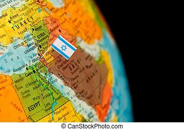 drapeau, carte, israël