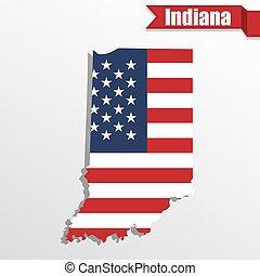 drapeau, carte, nous, ruban, indiana, intérieur, état