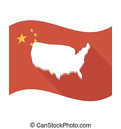 drapeau, carte, usa, porcelaine, isolé
