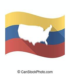 drapeau, carte, usa, venezuela, isolé