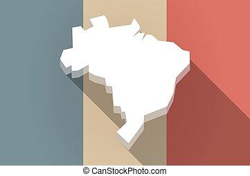 drapeau, carte, vecteur, icône, brésil, long, ombre, france