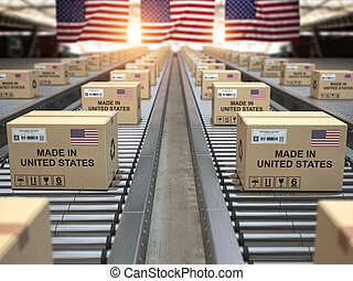 drapeau, carton, texte, américain, states., usa, uni, conveyor., fait, boîtes, rouleau