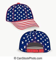 drapeau, casquette, base-ball, usa