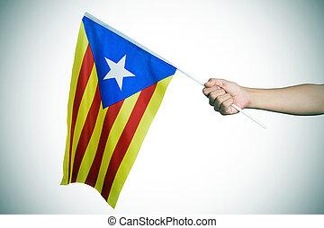 drapeau, catalan, pro-independence, estelada, vignetted, homme