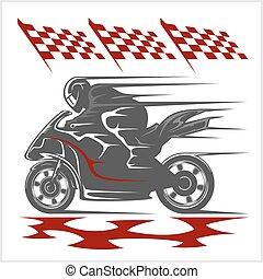 drapeau, checkered, courses, piste, motocyclette