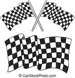 drapeau, checkered, croquis