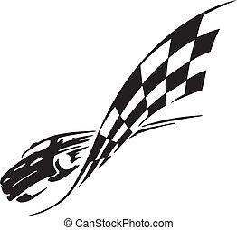 drapeau checkered, -, symbole, courses