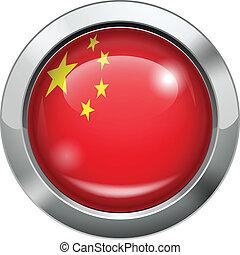 drapeau chine, métal, bouton